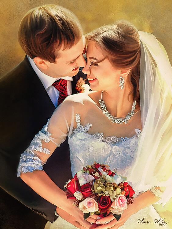 Custom Portrait Of Wedding Couple -2 | Original Art second marriage portrait | Bridal Registry for Art