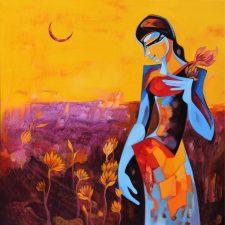 Sunset In Lotus Fields | Original Art bridal present | Bridal Registry for Art