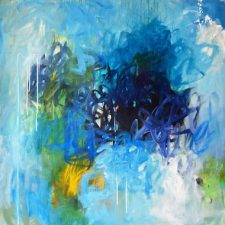 abstract painting in blue by Linda Oneill on Mishkalo