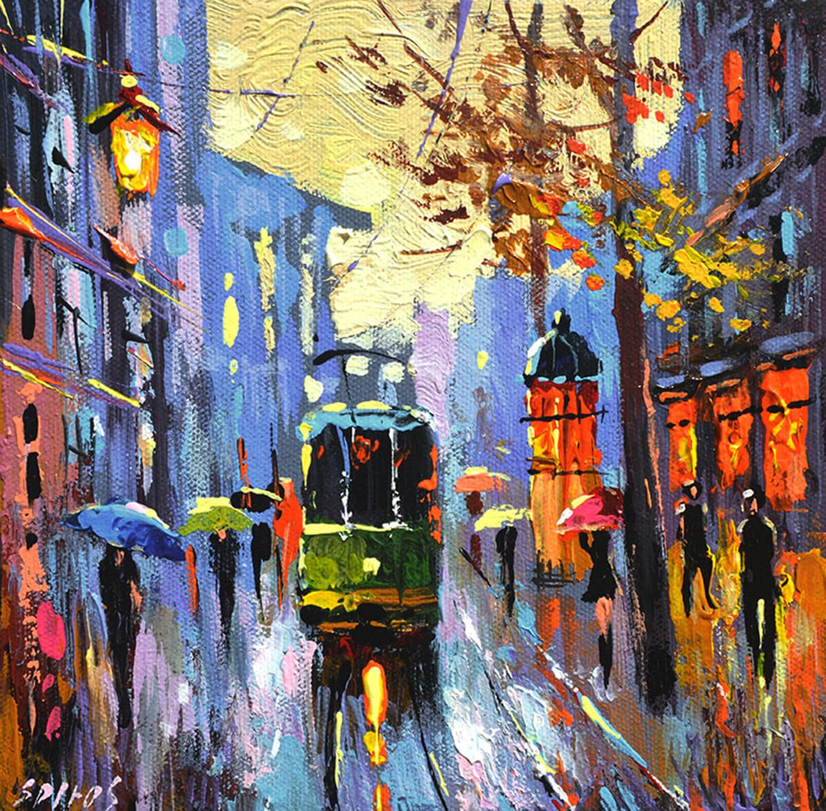 A Lonely Tram | Original Art gift idea | Bridal Registry for Art