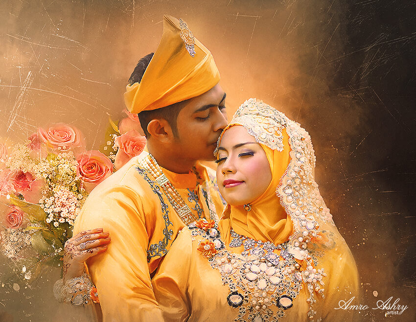 Custom Wedding Portrait Of Ethnic Couple | Classy wedding portrait | Bridal Registry for Art