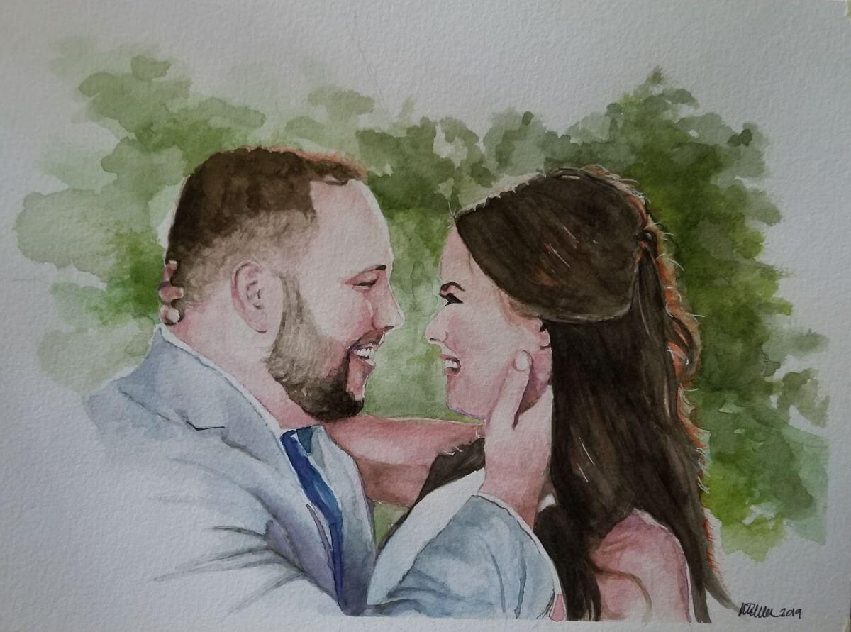 Married | Original Art second marriage portrait | Mishkalo Wedding Registry for Art