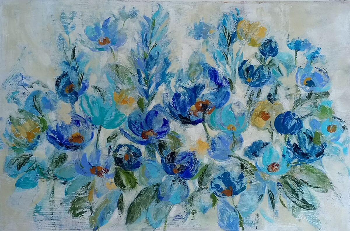 Scattered Blue Flowers | Novel wedding register | Bridal Registry for Art