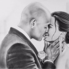 Charcoal Portrait: Wedding Couple 10 | Painting portrait | Bridal Registry for Art