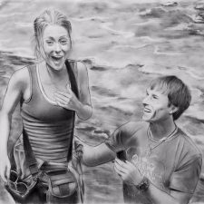 Charcoal Portrait: Wedding Couple 11 | Bridal shower portrait | Bridal Registry for Art
