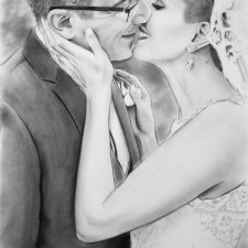 Charcoal Portrait: Wedding Couple 13 | Art wedding portrait | Mishkalo Bridal Registry