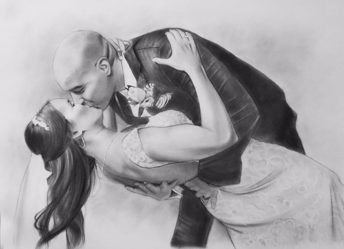 Charcoal Portrait: Wedding Couple 14 | Wedding Anniversary Portrait | Mishkalo Art Registry
