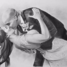 Charcoal Portrait: Wedding Couple 14 | Wedding Anniversary Portrait | Mishkalo Art Registry