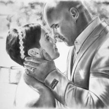 Charcoal Portrait: Wedding Couple 15 | Art wedding anniversary portrait | Mishkalo Art Registry