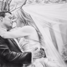 Charcoal Portrait: Wedding Couple 16 | Wedding portrait art | Wedding Registry for Art