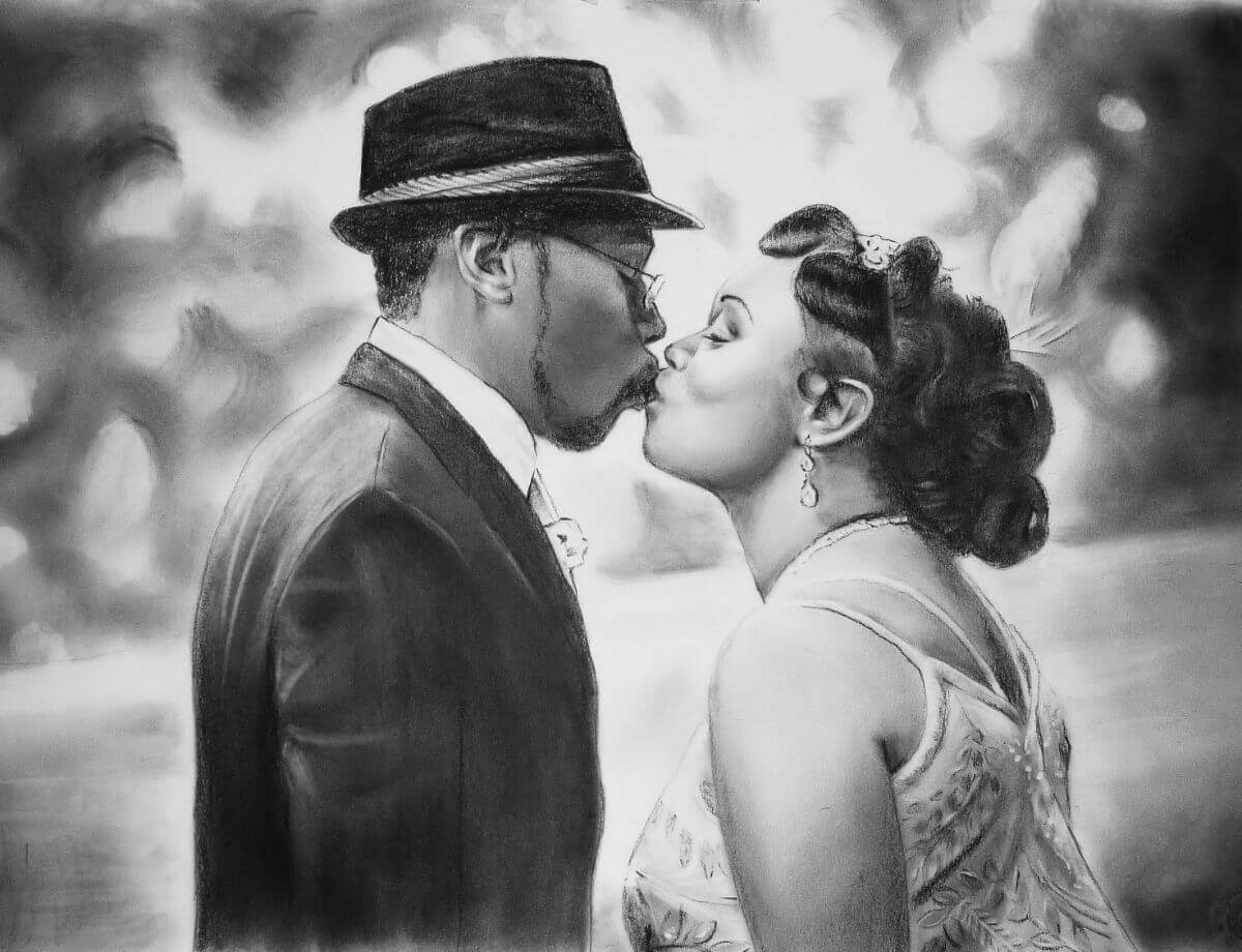 Charcoal Portrait: Wedding Couple 17 | Marriage Portrait | Mishkalo Art Registry