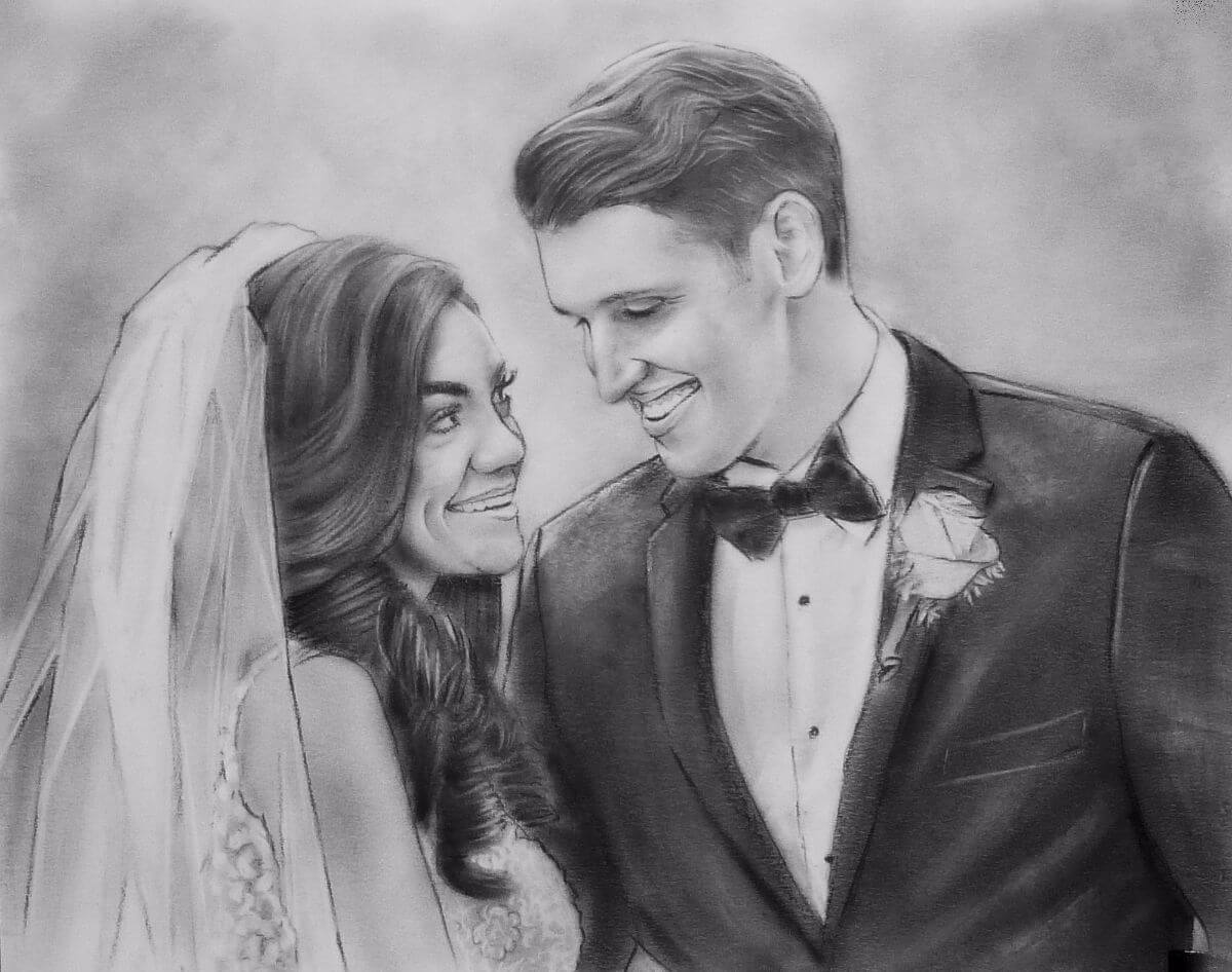 Charcoal Portrait: Wedding Couple 2 | Original Art second marriage portrait | Bridal Registry for Art