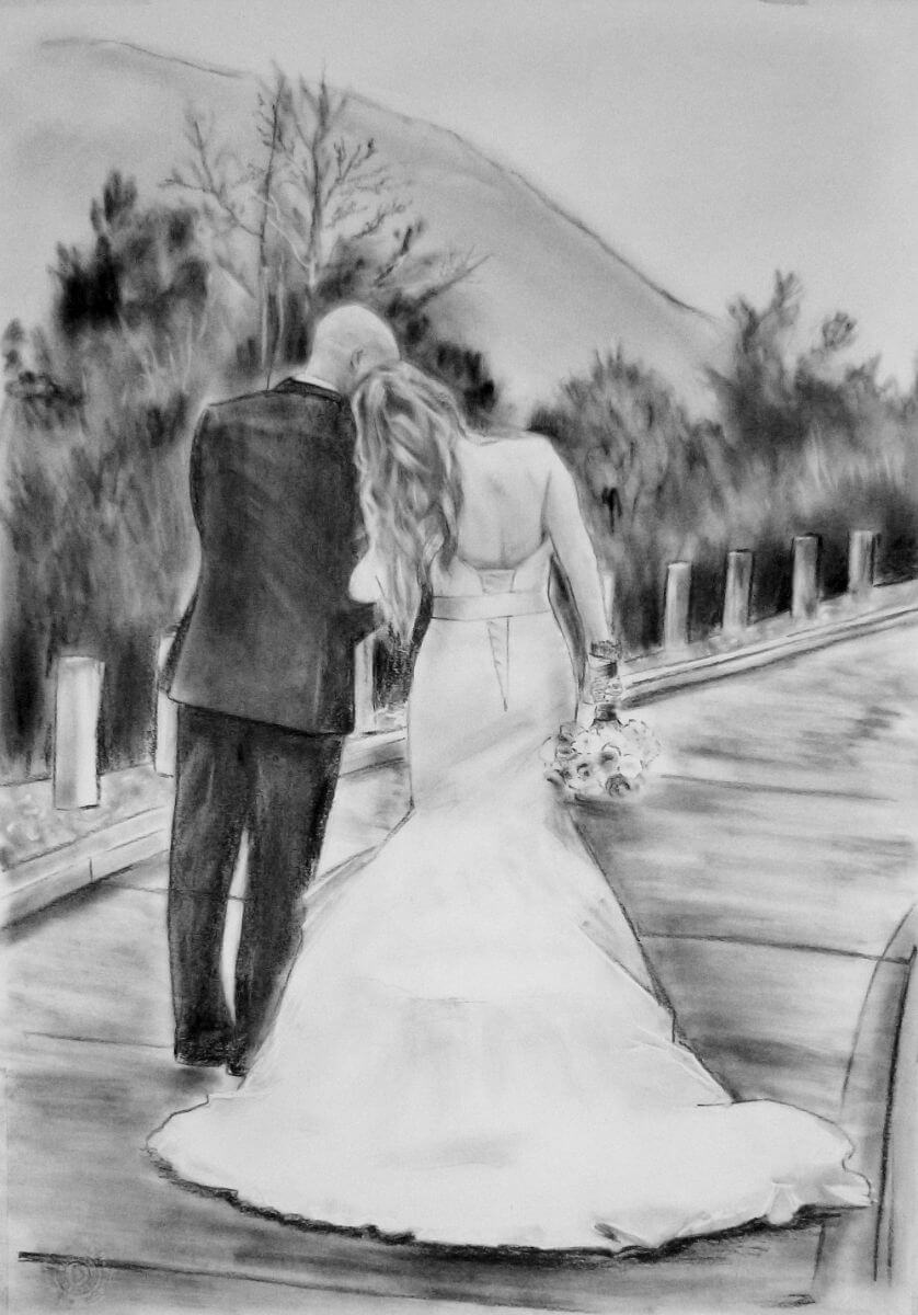 Charcoal Portrait: Wedding Couple 3 | Best wedding portrait | Wedding Registry for Art