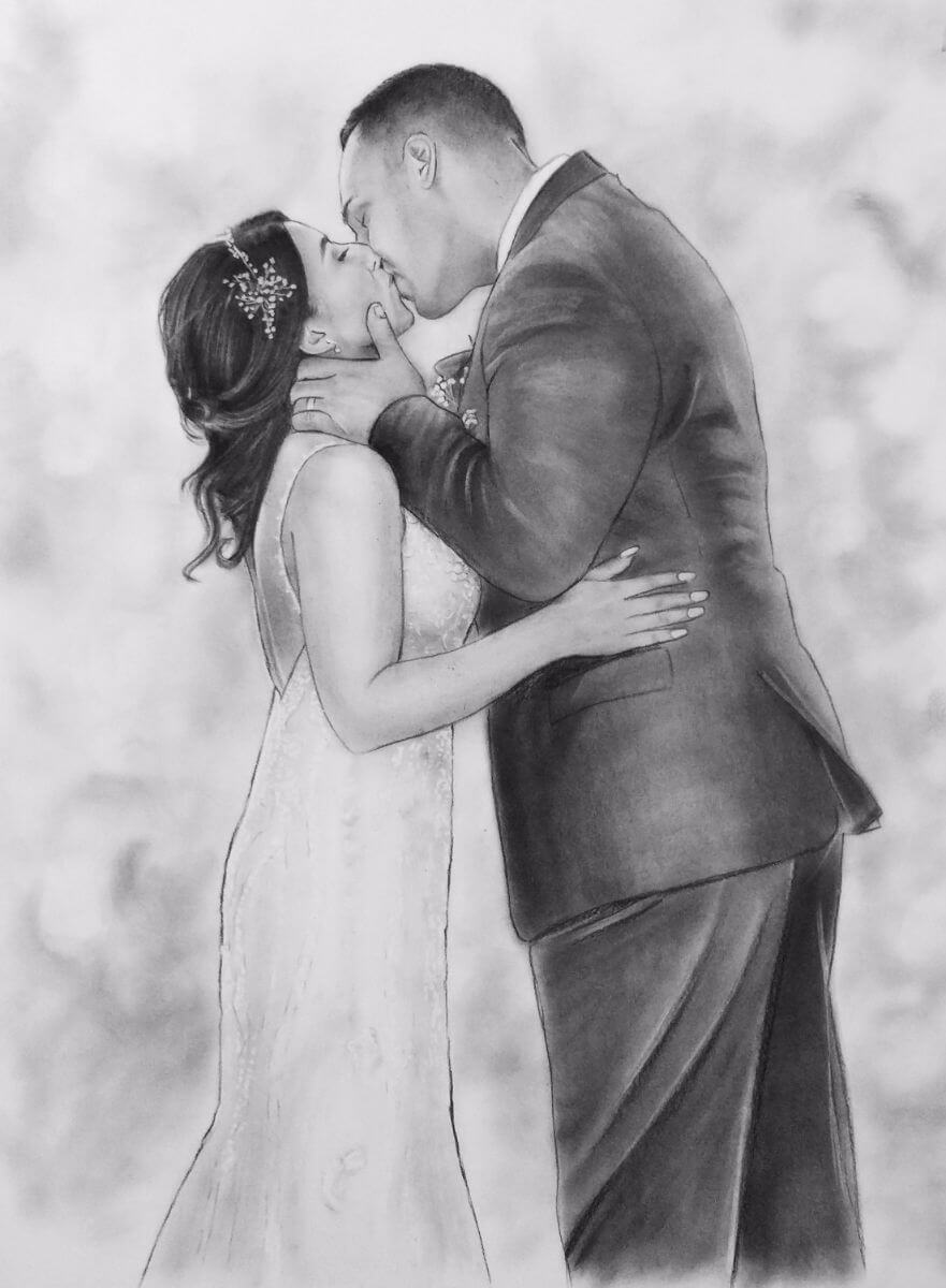 Charcoal Portrait: Wedding Couple 4 | Bridal Portrait | Mishkalo Bridal Registry