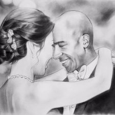 Charcoal Portrait: Wedding Couple 5 | Bridal Portrait | Mishkalo Wedding Registry for Art