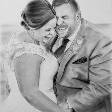 Charcoal Portrait: Wedding Couple 6 | Bridal shower portrait | Wedding Registry for Art