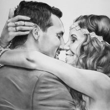 Charcoal Portrait: Wedding Couple 7 | Unique wedding portrait | Wedding Registry for Art