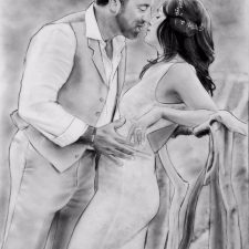 Charcoal Portrait: Wedding Couple 8 | Bridal Portrait | Mishkalo Wedding Registry for Art