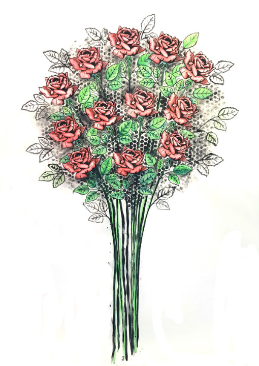 A dozen red roses by Abby Goodman on Mishkalo