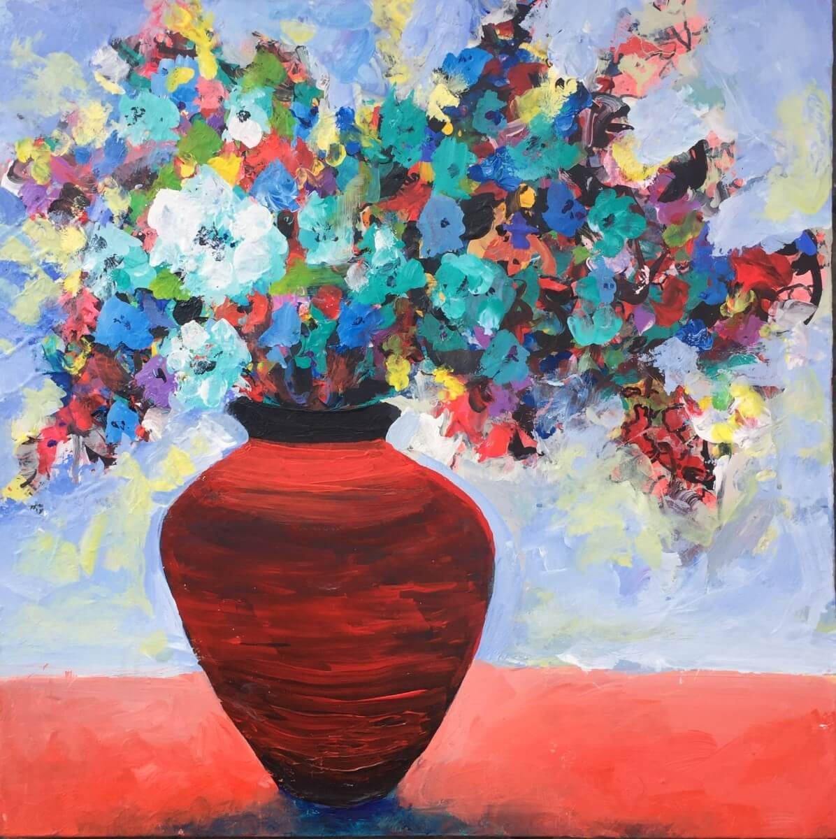 Red Pot Floral | Art registry | Mishkalo Art Registry